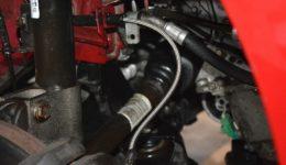 307CC ブレーキホース が錆びて危険でした<br>自社製ステンメッシュホースに変更