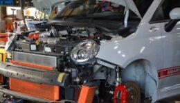 アバルト軽量フライホイールの組付け<br>車検と合わせ一気にリファインです
