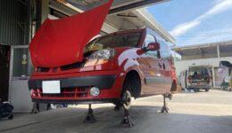 カングーⅠの車検整備 ホイールシリンダーからのオイル漏れ